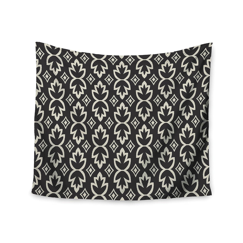 Kess InHouse Amanda Lane Black Cream Bohemia Dark Pattern Wall Tapestry 51 X 60