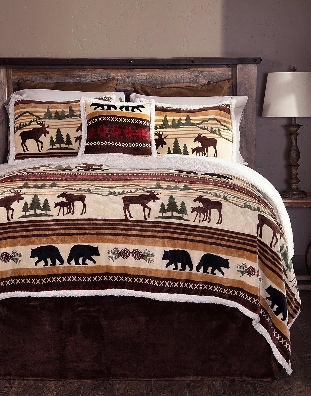Wildlife Moose Bedding Set Queen 5 Piece Bears Nature