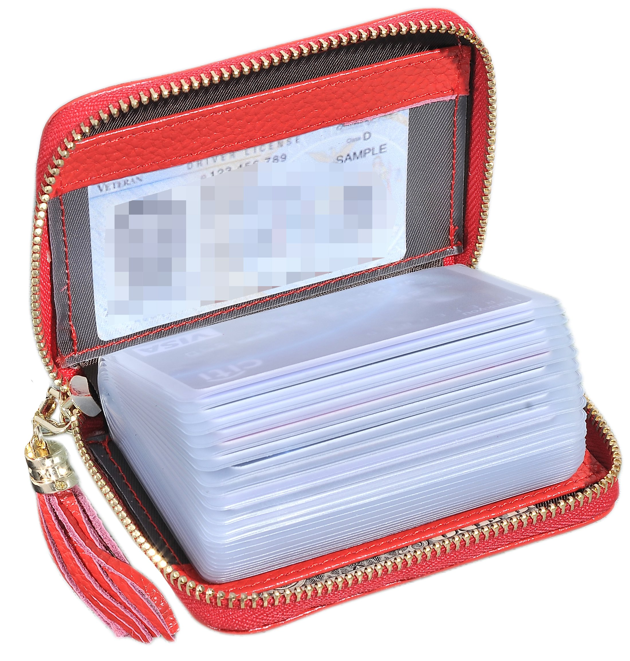 Easyoulife Genuine Leather Credit Card Holder Wallet Zipper Wallet With Tassel (Red)