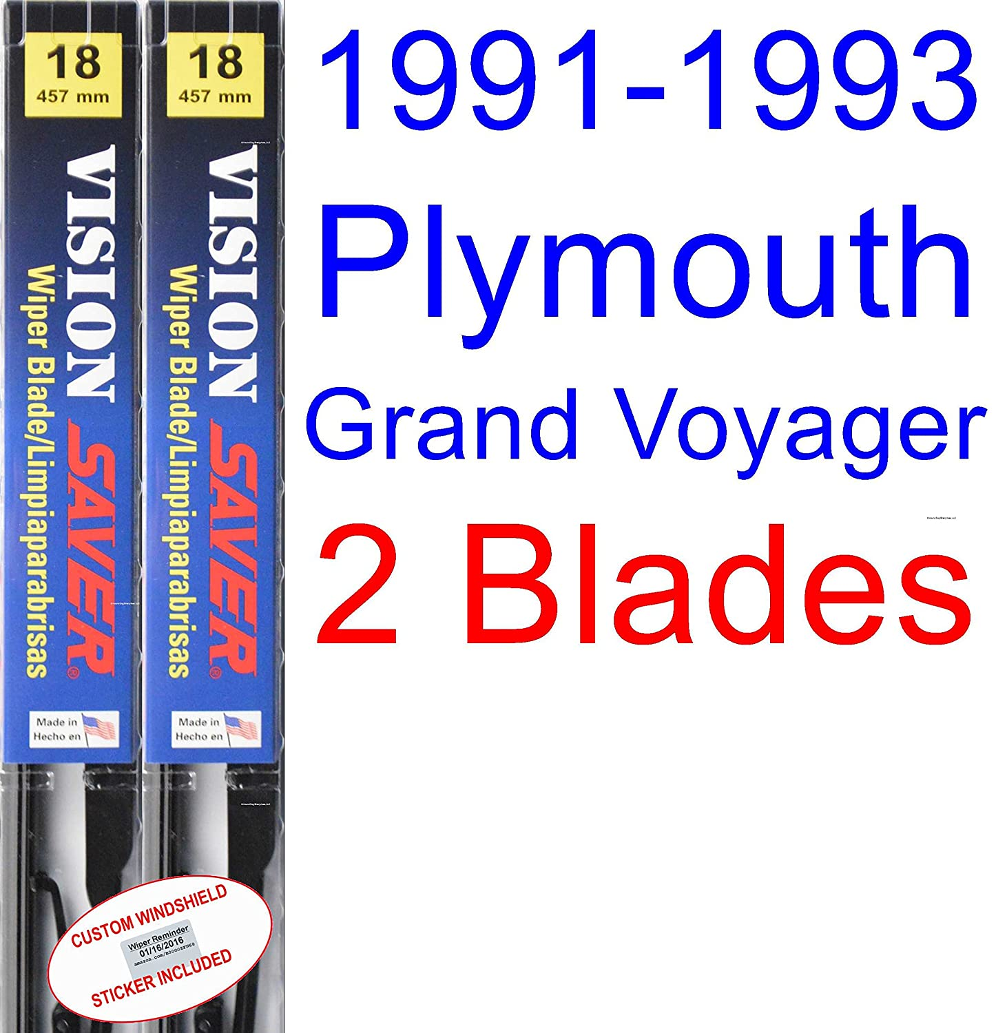 Amazon.com: 1991-1993 Plymouth Grand Voyager Wiper Blade (Rear) (Saver Automotive Products-Vision Saver) (1992): Automotive
