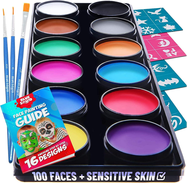 Blue Squid Kit de Pintura Facial para Niños - 30 Plantillas 12 ...