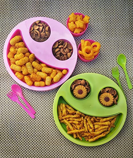Buy Kieana Multicolor Big Smiley Food Plates For Kids Return Gifts Birthday PartyMulticolorPack Of 2 Online At Low Prices In India