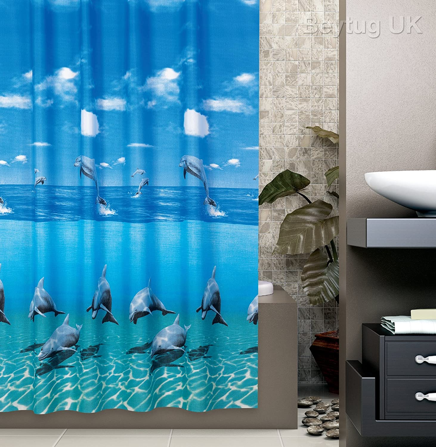 Beautiful extra long shower curtain Wide 240cm x Length 200cm rings included Dolphin by beytug W240 x L200cm