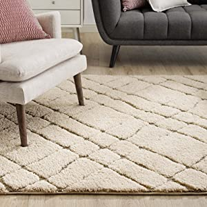 Modway Jubilant Verona Abstract Geometric Shag 8x10 Area Rug in Creame and Beige