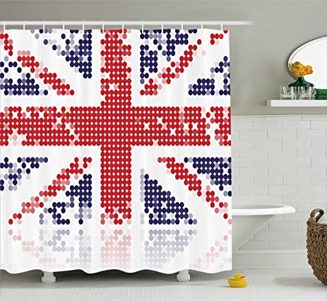 British Shower Curtain By Ambesonne Grunge United Kingdom Flag With Dot Circle Effects National English