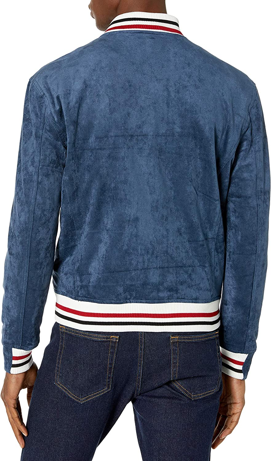 BLANKNYC Mens Faux Suede Bomber Faux-Leather Jacket