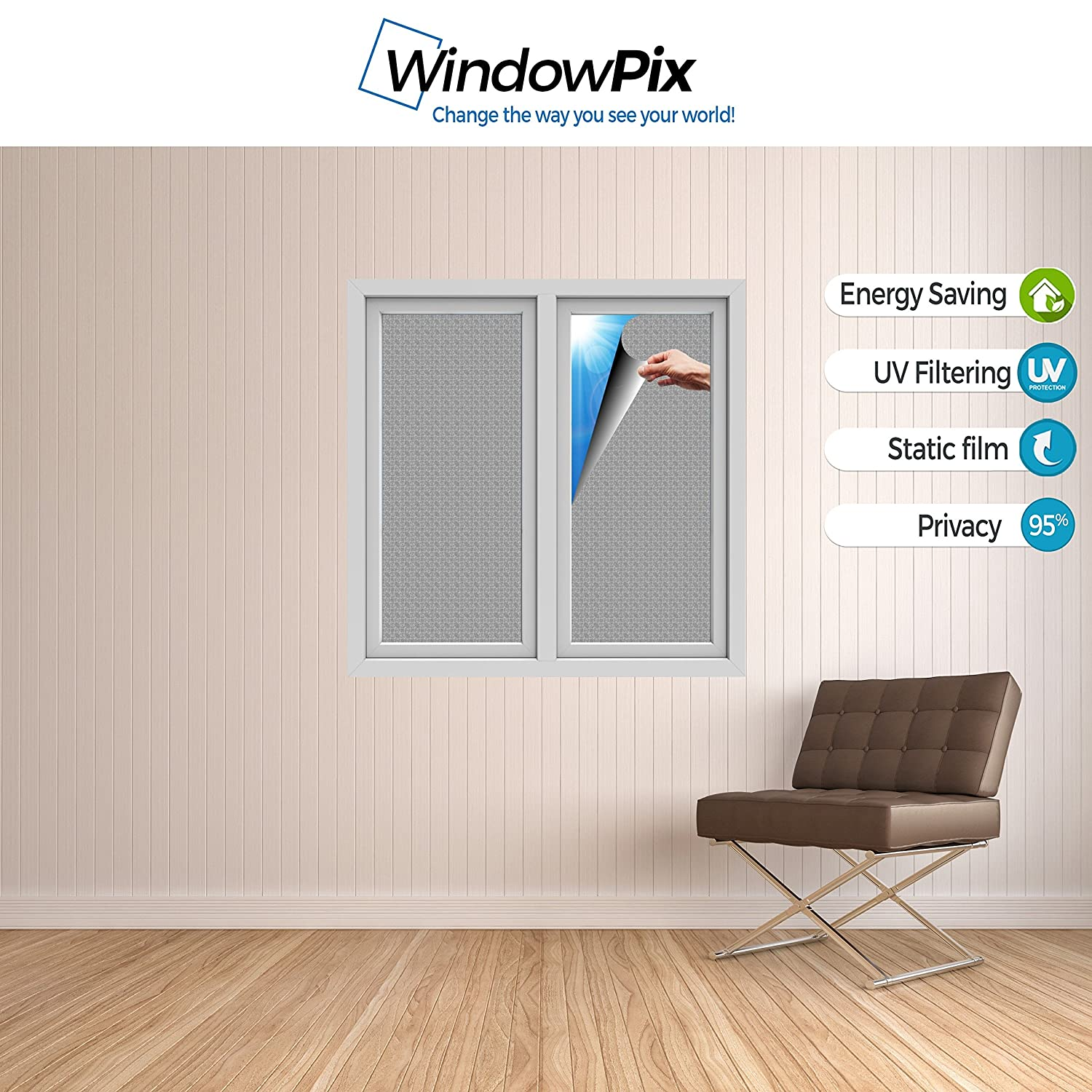 UV protection Energy Saving. Printed on Tinted Frost for Window Glass panels WindowPix 18x12 // 18 x 12 Decorative Static Cling Window Film Mediterranean Scroll Iron Gate
