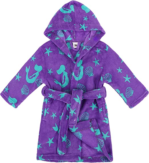 Boys Dressing Gown Kids New Soft Touch Fleece Hooded Robe Grey Blue Age 2-13 Y