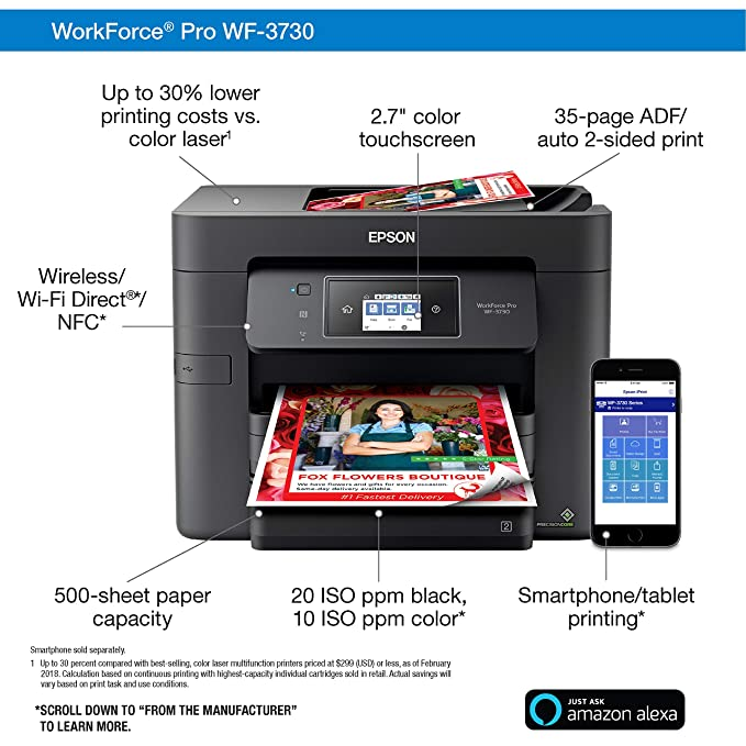 Amazon.com: Epson Workforce Pro WF-3730 Impresora ...