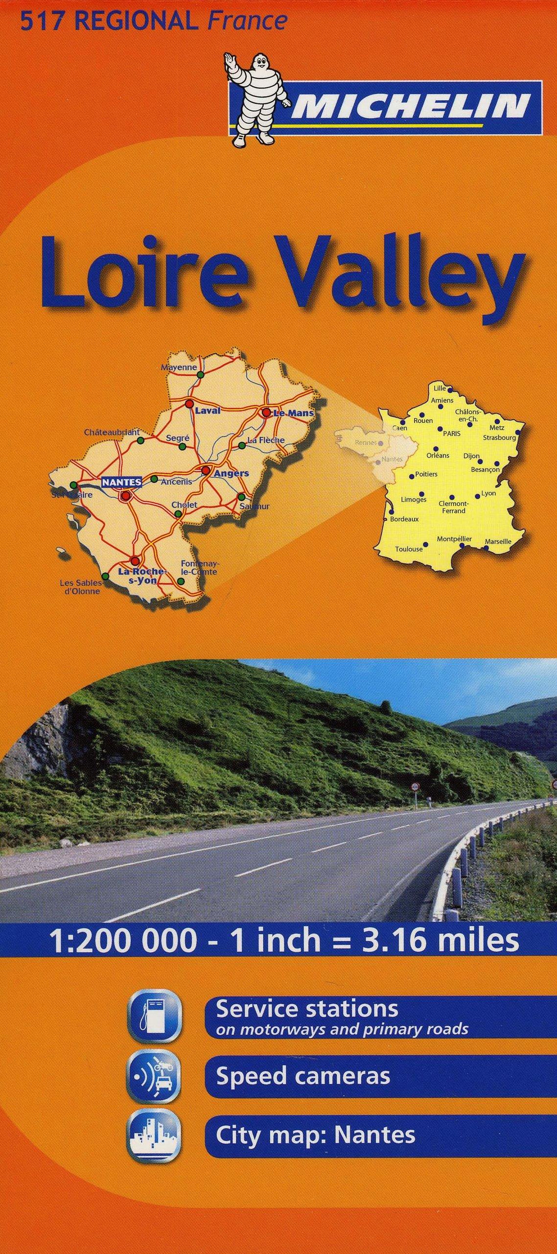 Michelin Map France: Loire Valley 517 (Maps/Regional ... on vercors france map, nord-pas-de-calais france map, vendee france map, ireland france map, auvergne france map, amsterdam france map, catalonia france map, st remy provence france map, salzburg france map, madrid france map, chartres france map, normandy france map, palais des papes france map, rome france map, de loire france map, carriveau france map, scotland france map, tours france map, the dordogne france map, austria france map,
