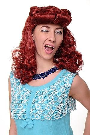WIG ME UP ® - WIG018-P135 Peluca mujeres Carnaval Scarlett Rockabilly 1950 roja copete