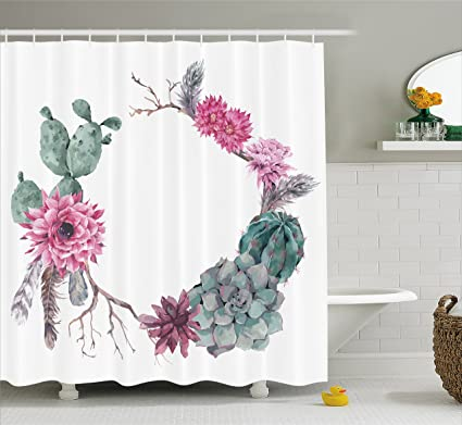 Ambesonne Succulent Shower Curtain Summer Vintage Floral Wreath Boho Chic Style Branches Feathers Fabric