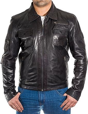 A to Z Leather Negro para Hombre del Motorista de la Vendimia ...