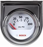 "Bosch SP0F000041 Style Line 2"" Electrical Oil Pressure Gauge (White Dial Face, Chrome Bezel)"