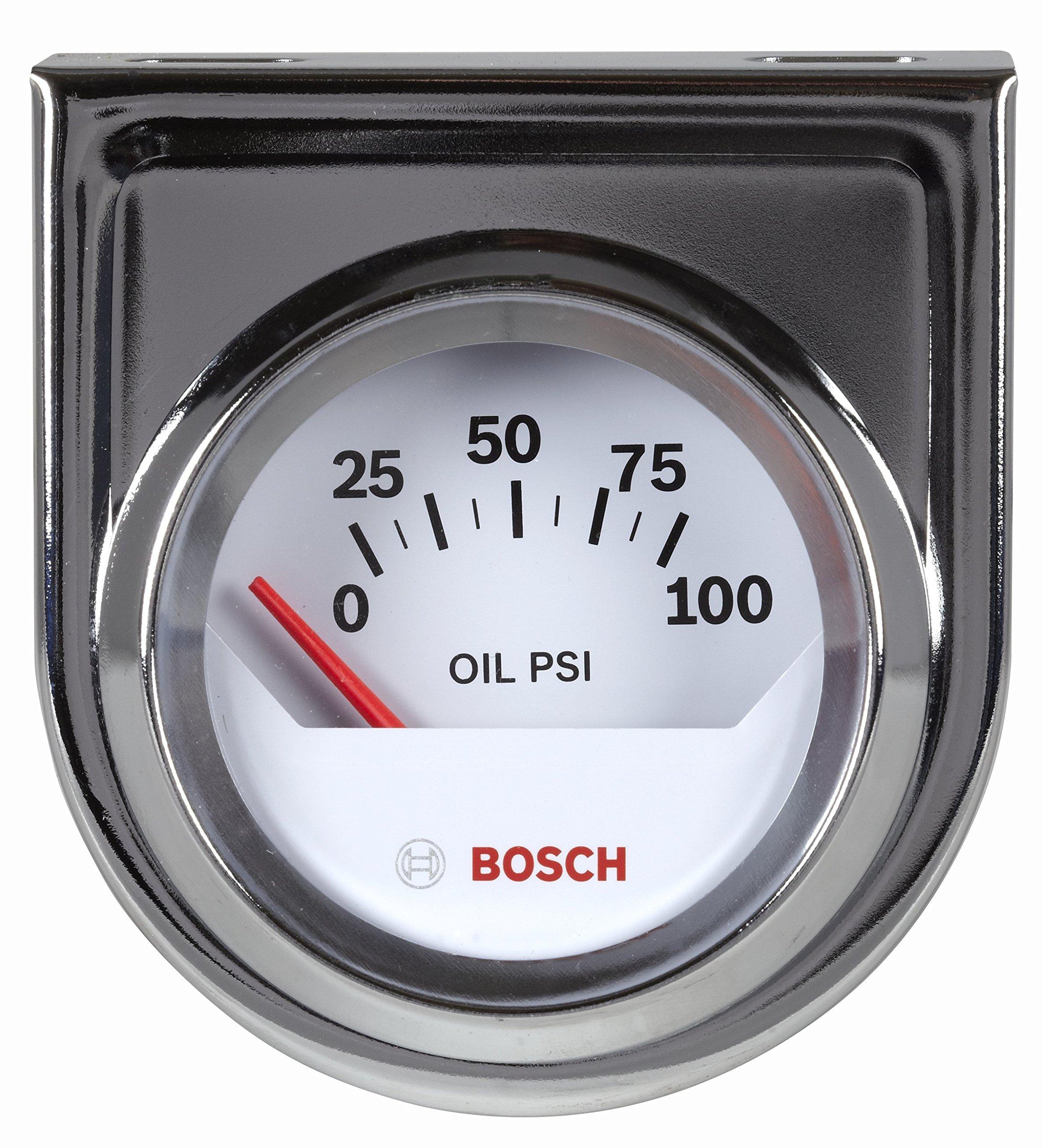 Bosch SP0F000041 Style Line 2'' Electrical Oil Pressure Gauge (White Dial Face, Chrome Bezel) by Bosch Automotive