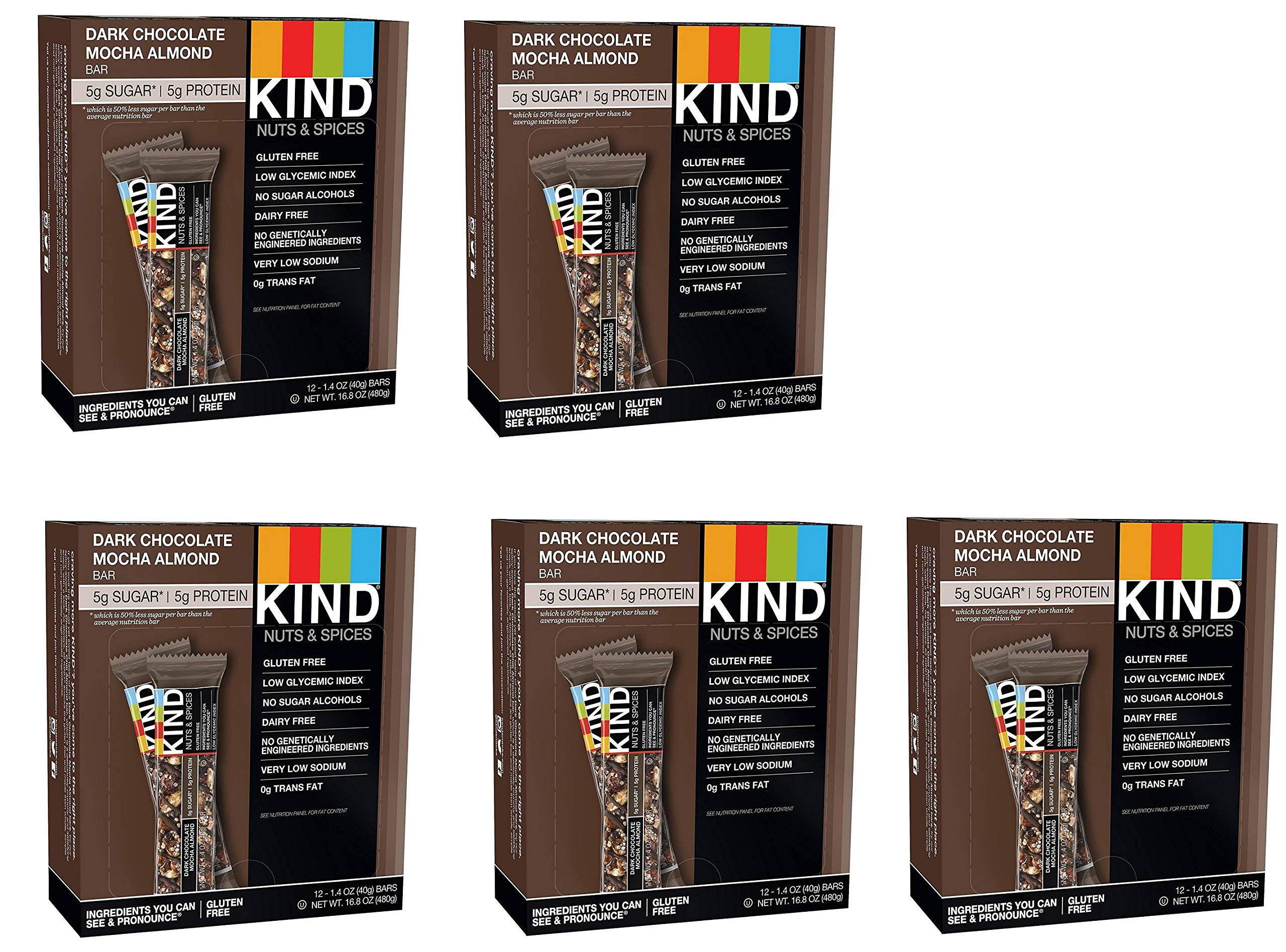 KIND Bars, Dark Chocolate Mocha Almond, Gluten Free, Low Sugar, 1.4oz, 60 Bars