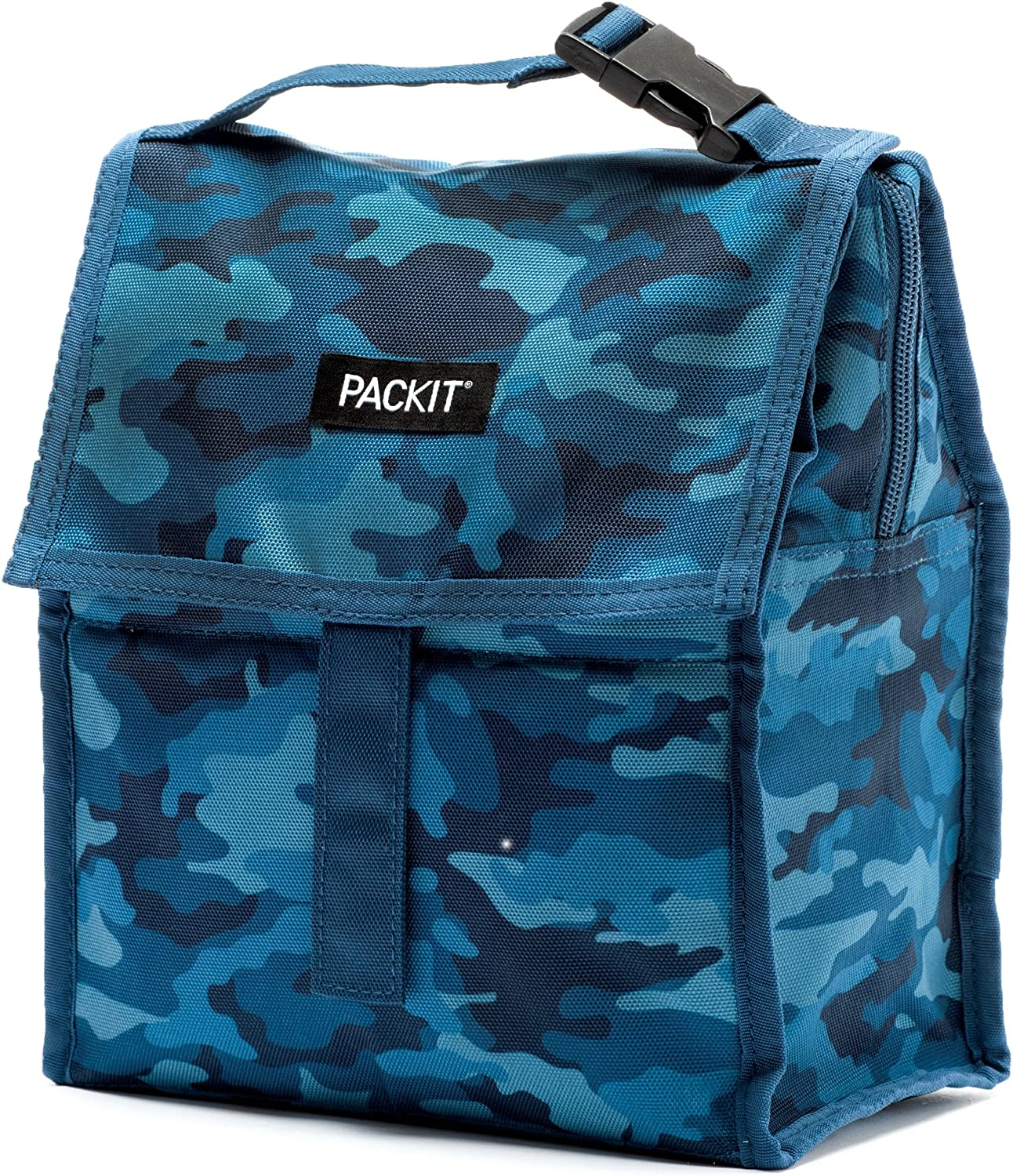 PackIt Freezable Lunch Bag with Zip Closure, Blue Camo