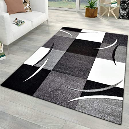 Xrug Modern Rugs for Living Room Grey Black White Carpet Mat Check Design  Small Large (160x230cm (5\'3\