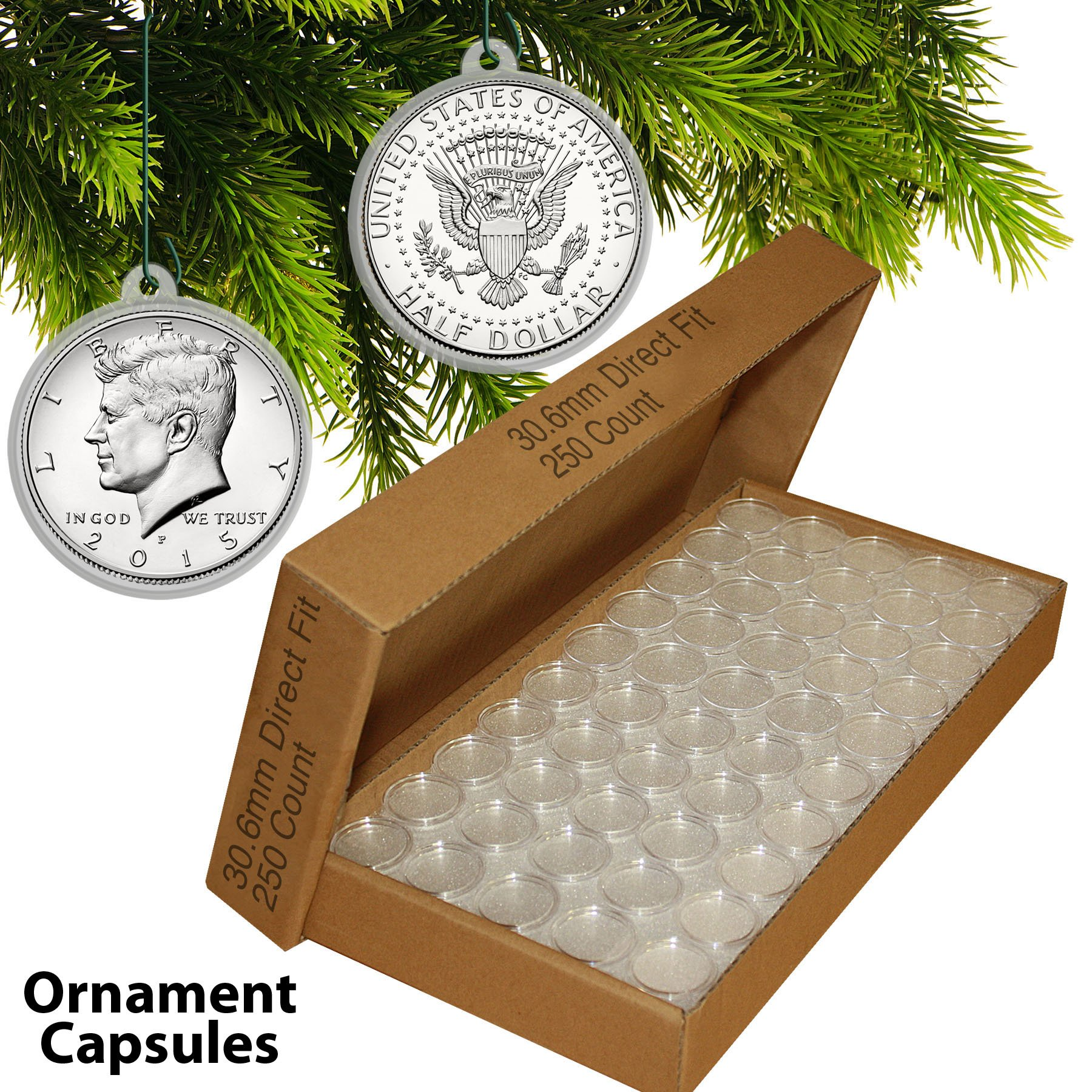 250 Direct Fit 30.6mm CHRISTMAS ORNAMENT Coin Capsule w/Hook for JFK HALF DOLLAR