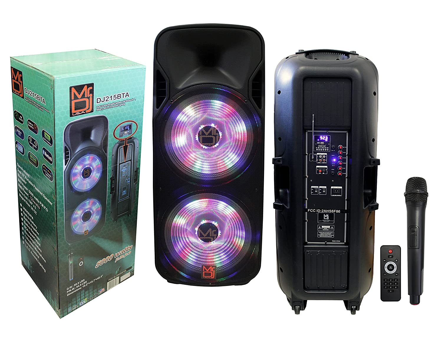 Mr Dj Dj215bta Dual 15 5000w Max Power Speaker With Amplifier Using Tda2009a 12 Watt 15x2 Audio Built In Bluetooth Battery 1 Lcd Mp3 Usb Sd Slot Musical Instruments
