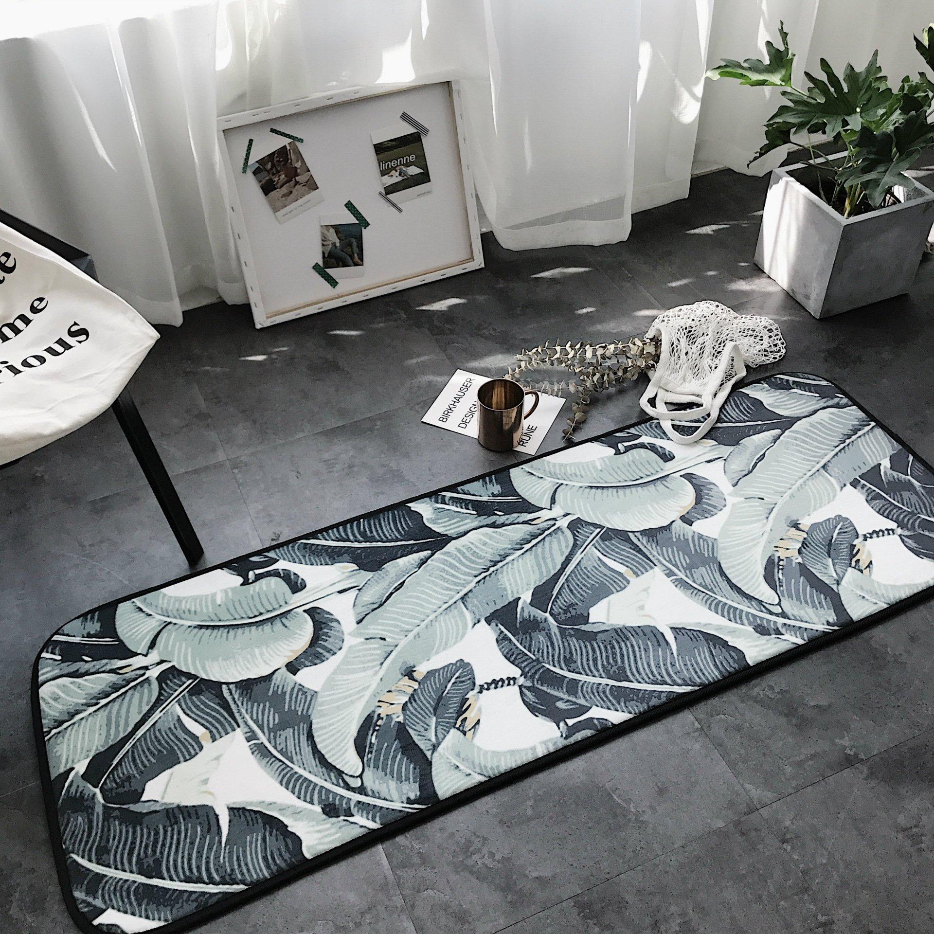 Tropical Leaves Decor Modern Wide Runner Area Rug - Anti-slip Microfiber Door Bathroom Bedside Mat For Home Dorm or Apartment Decor HRG01-US (Tropical leaves #1)