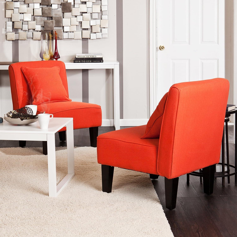 Amazon.com: Holly U0026 Martin Purban 2pc Slipper Chairs   Red Orange: Kitchen  U0026 Dining