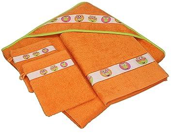 BETZ Juego de 4 piezas de toallas para bebés LECHUZAS 100% algodón 1 toalla con capucha 1 toalla y 2 manoplas de baño de color naranja: Amazon.es: Hogar