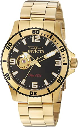 Invicta Mens Objet dArt Automatic Stainless Steel Casual Watch, Color:
