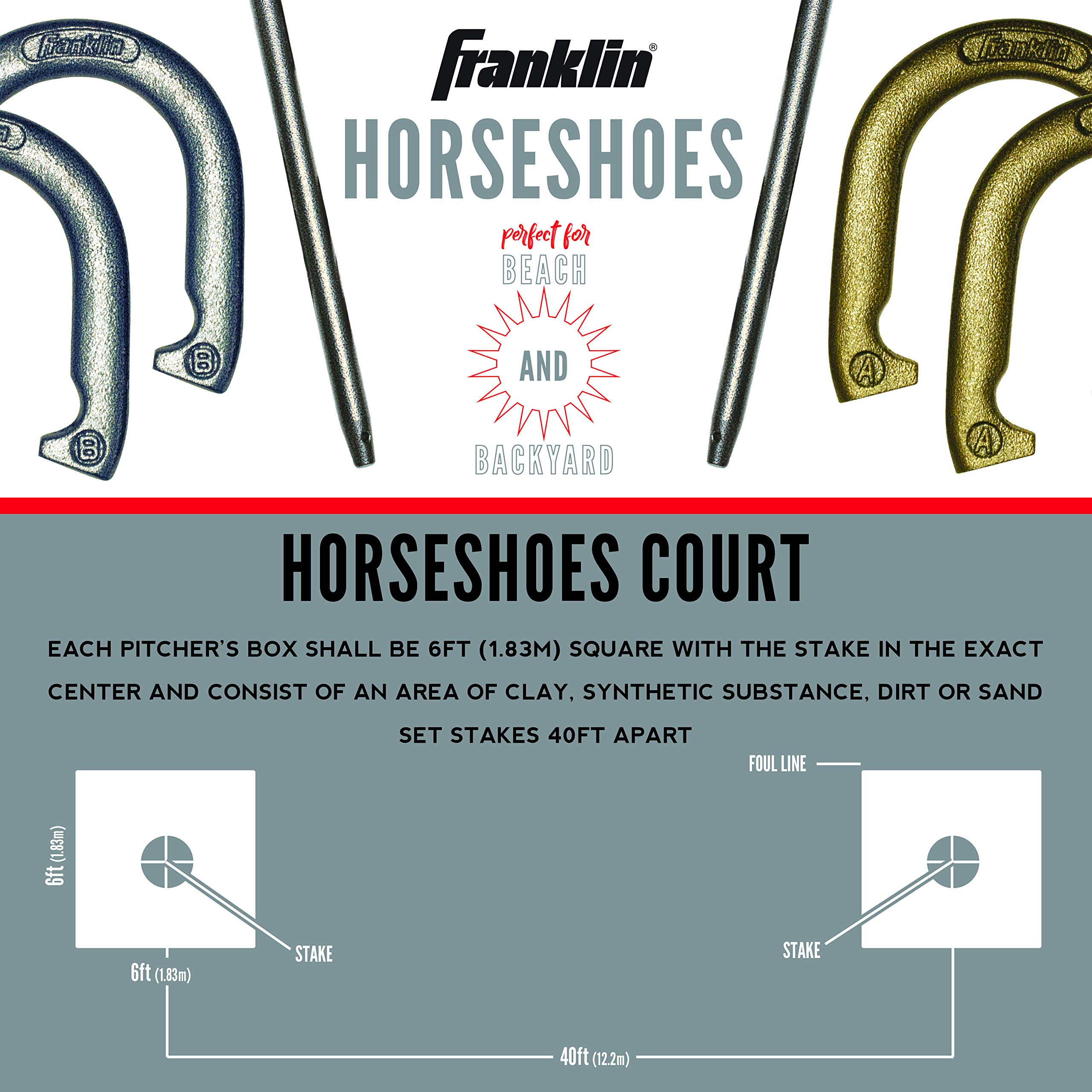 Franklin Sports Horseshoes Set - Includes 4 Official Size and Weight Iron Horseshoes and 2 Steel Stakes - Beach or Backyard Horseshoe Play - Starter Set by Franklin Sports (Image #4)