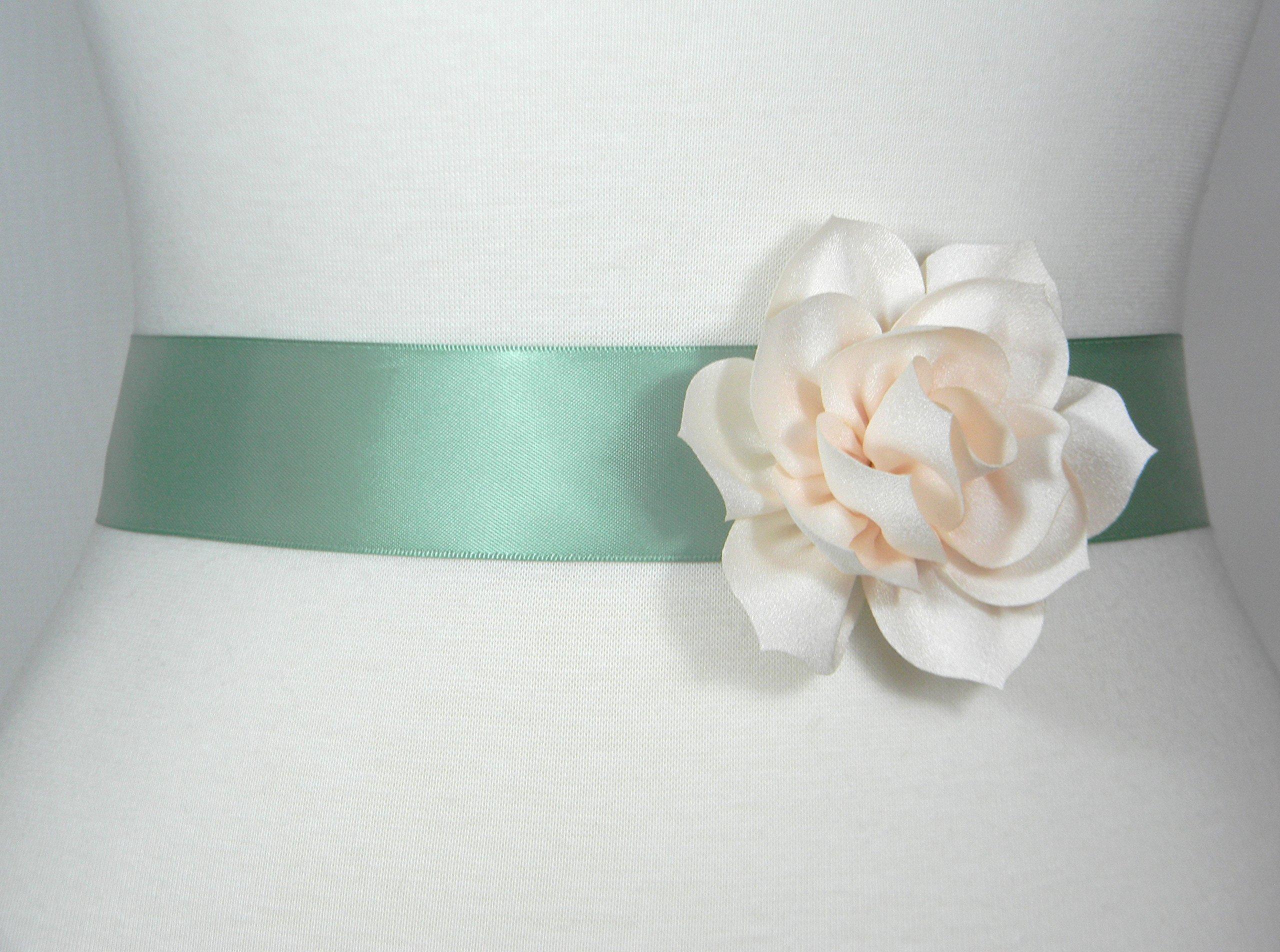 Sage and Light Champagne or White Bridal Sash, Wedding Belt, Bridal Belt, Flower Girl Dress Sash, Bridesmaid Belt, Satin Sash, Wedding Dress Belt, Simple Sash POSY