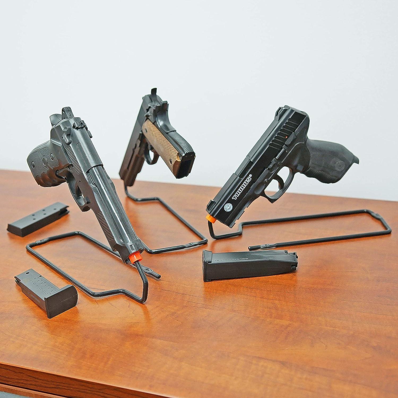 BOOMSTICK Gun Accessories Stand Style Vinyl Coated Metal Handgun Pistol Rack (Pack of 3): Sports & Outdoors