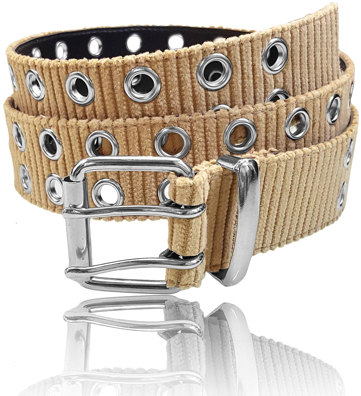 LUNA Women's Corduroy Textile 2 Hole Belt - Beige - Medium