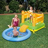 Summer Waves Inflatable Sand Castle Play Center with Sprayer Kiddie Pool & Slide