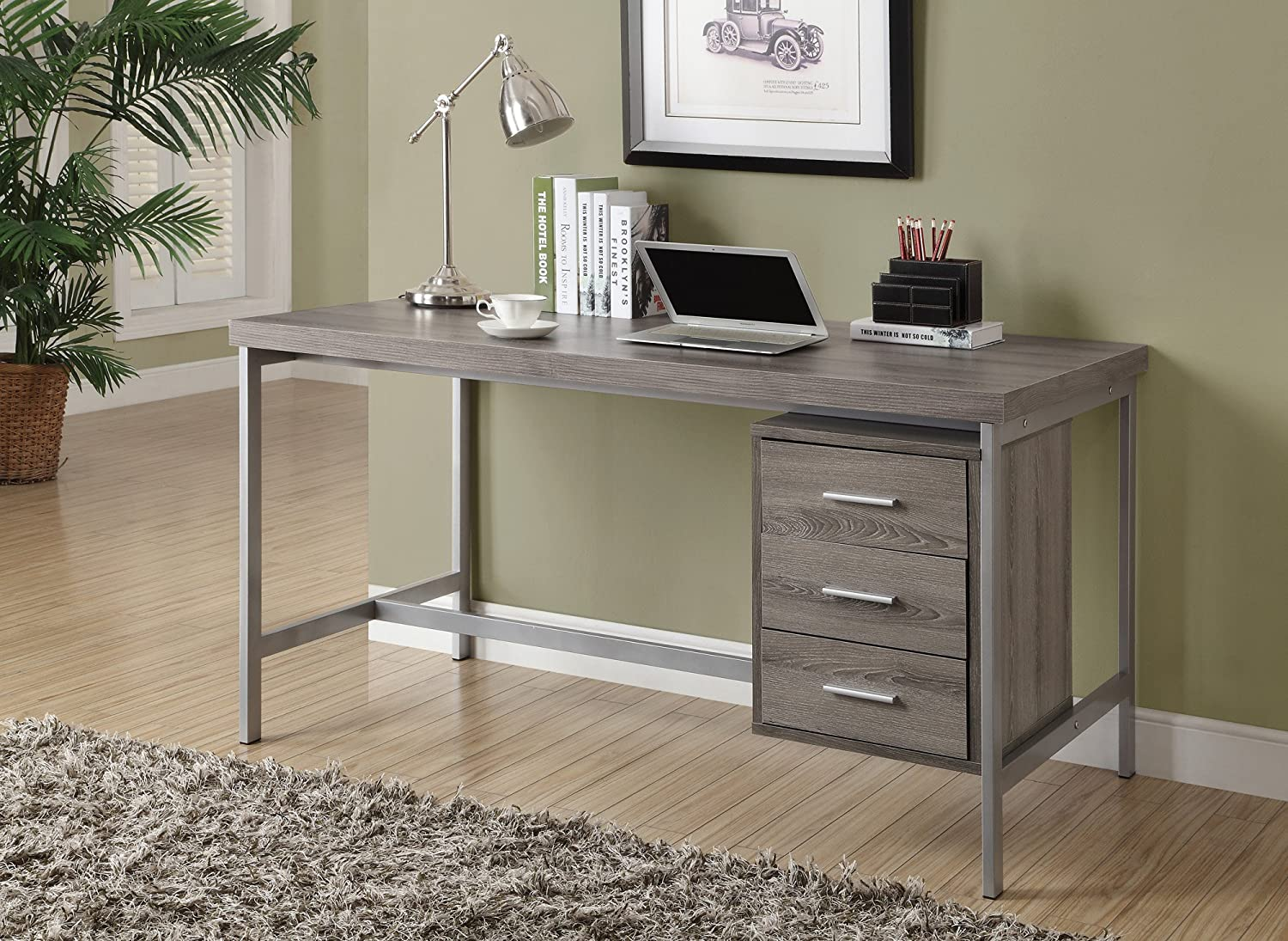 Amazon.com: Monarch Hollow-Core/Silver Metal Office Desk, 60-Inch ...