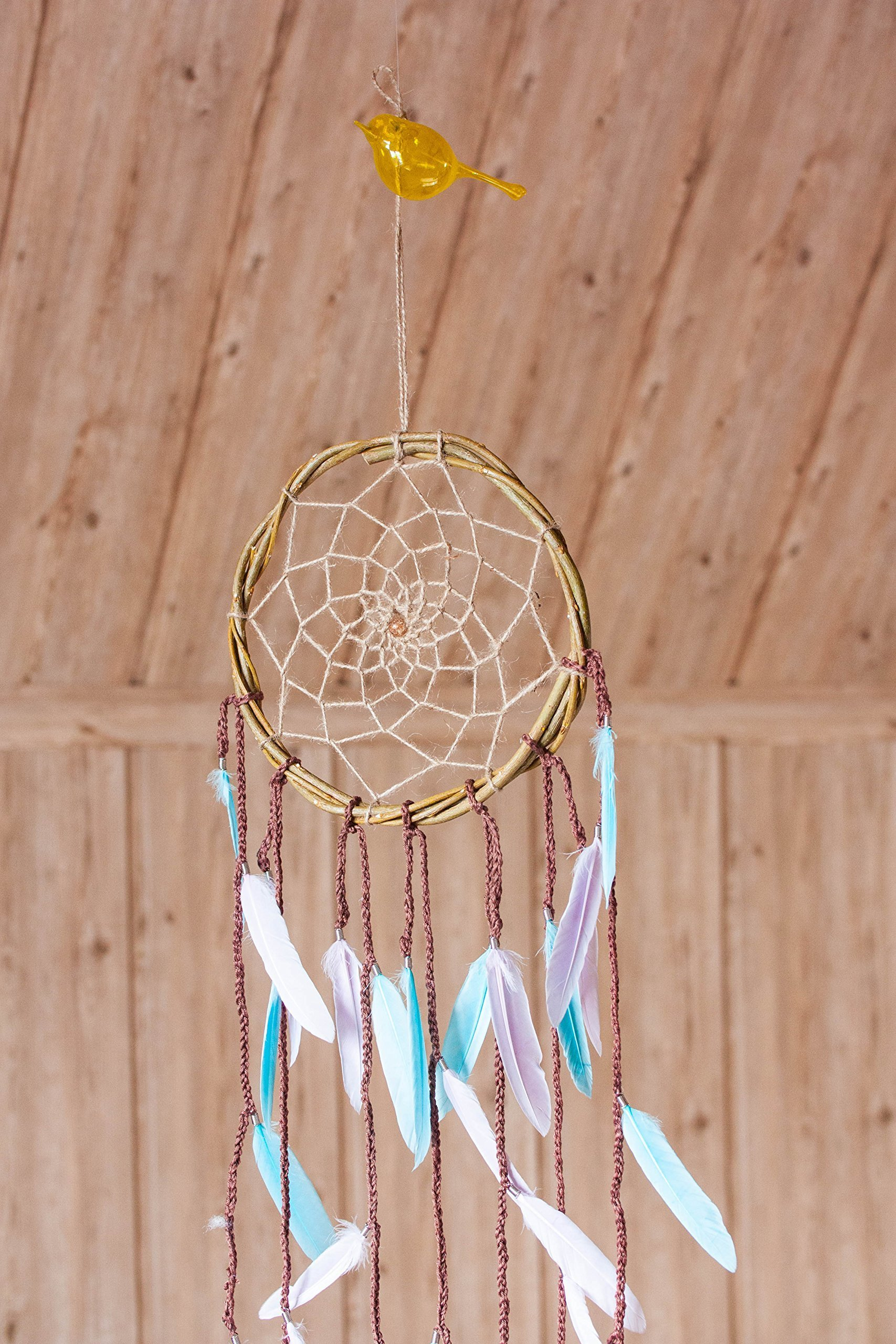 Willow Dream catcher with colorfull feathers, Diam 8 inches(20cm), Wall hanging Dream catcher, Boho dreamcatcher mobile