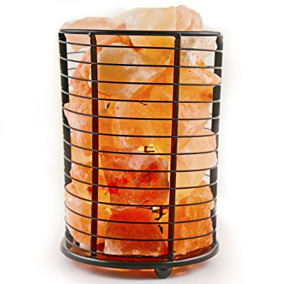 Crystal Allies Gallery: Natural Himalayan Salt Wire Mesh Basket Cylinder Lamp with Cord, Light Bulb and Authentic Crystal Allies Info Card