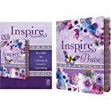 Tyndale NLT Inspire PRAISE Bible (LeatherLike, Purple Garden): Coloring Bible–Over 500 Illustrations to Color and Creative Jo