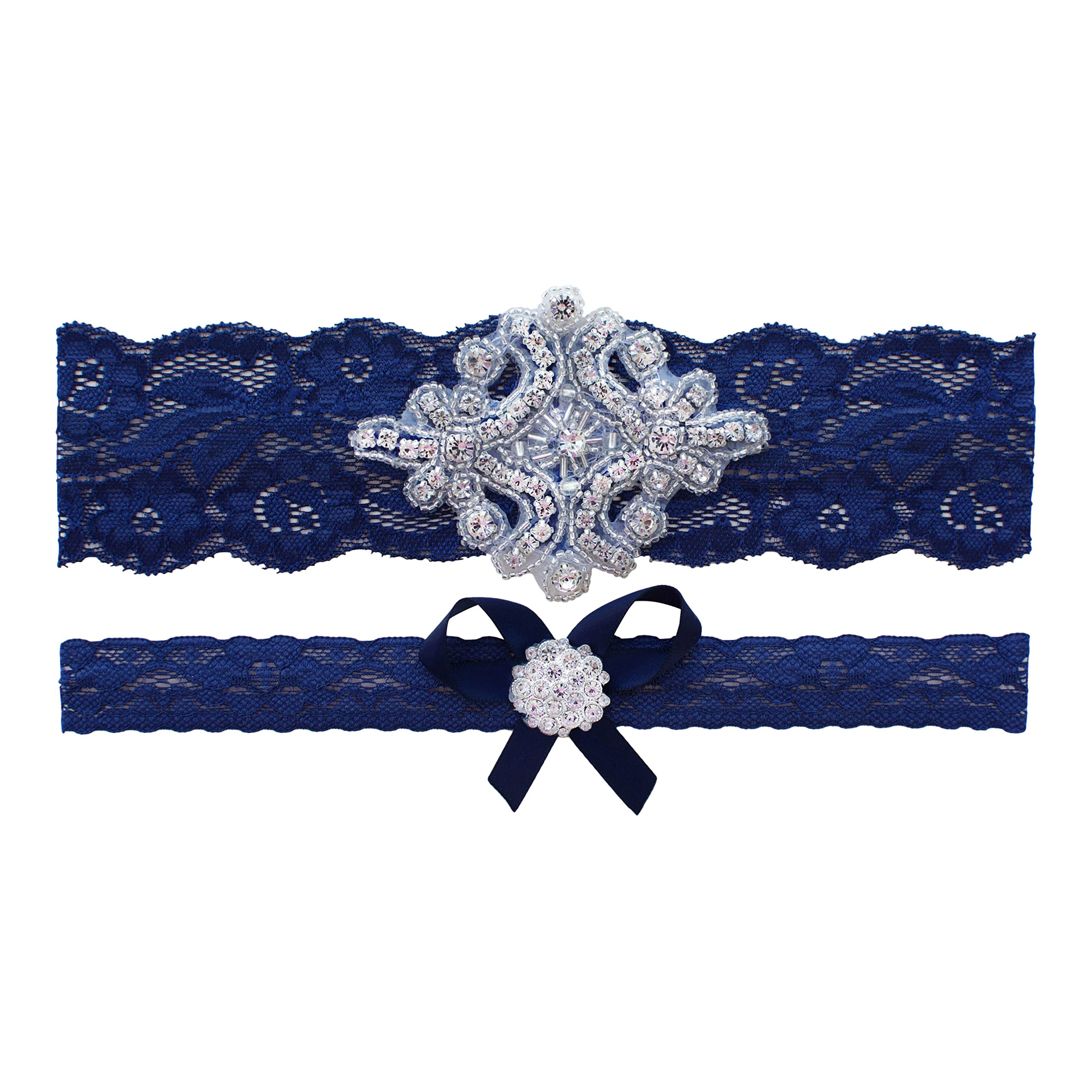 Navy Blue Wedding Garter | Garters for Brides | (Navy Blue, X-Large (22'' - 23''))