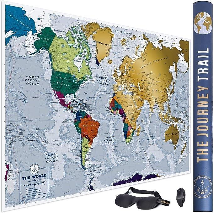 Mapa mundi para rascar más grande (84x57cm) y con más destinos - Póster de papel de gran calidad, más grueso y capa de protección - Incluye antifaz para un sueño profundo y