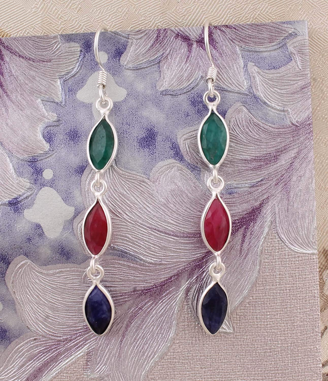 Marquise Emerald, Ruby, Sapphire Pendientes, pendientes colgantes, 925 pendientes de gota de plata esterlina para regalo de mujer Sterling Silver Drop Earrings
