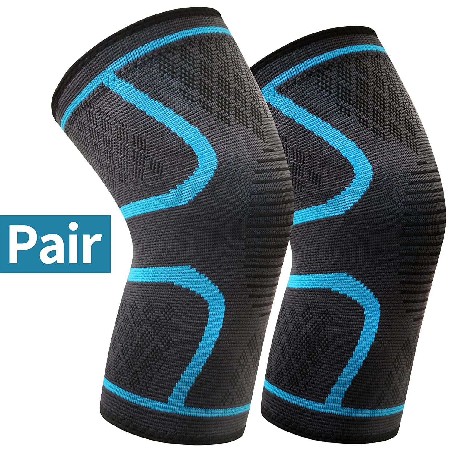 Knee Brace Support, Arteesol 2 Pack Anti Slip Knee Brace Compression Sleeves Super Elastic Breathable for Joint Pain, Arthritis, Ligament Injury, Sports Injury Rehabilitation, Protection against Reinjury