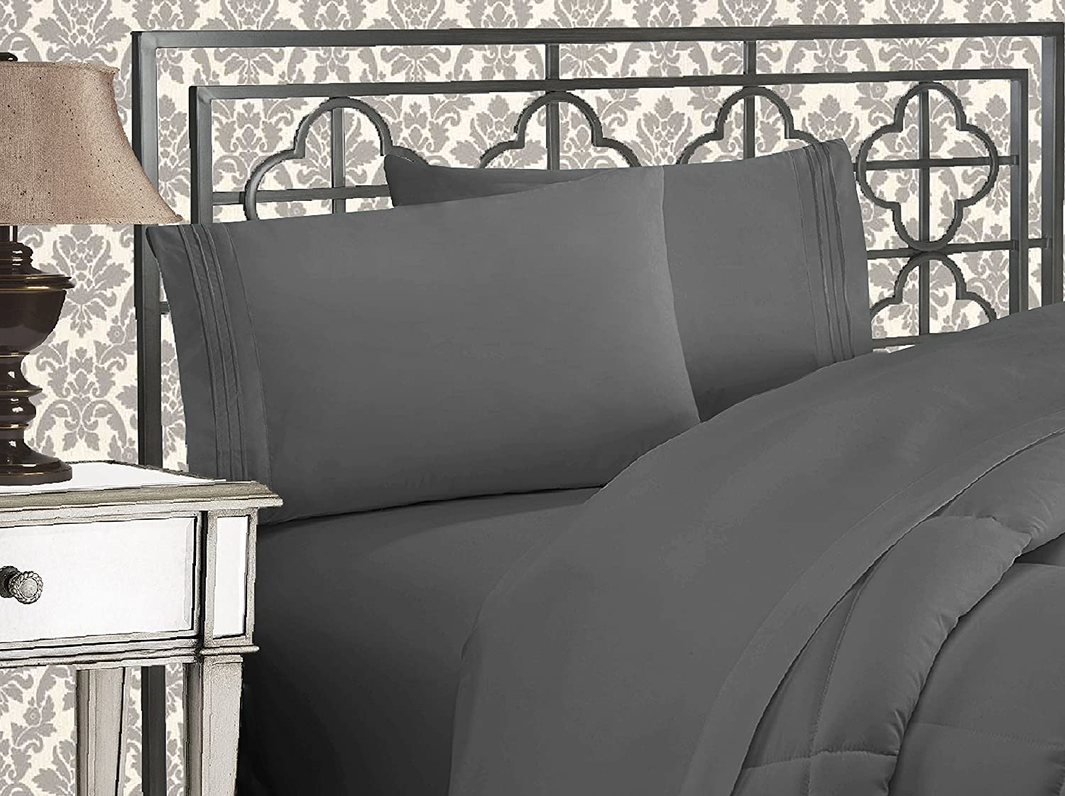 Elegant Comfort Luxurious 1500 Thread Count Egyptian Three Line Embroidered Softest Premium Hotel Quality 3-Piece Bed Sheet Set, Wrinkle and Fade Resistant, Twin XL, Grey
