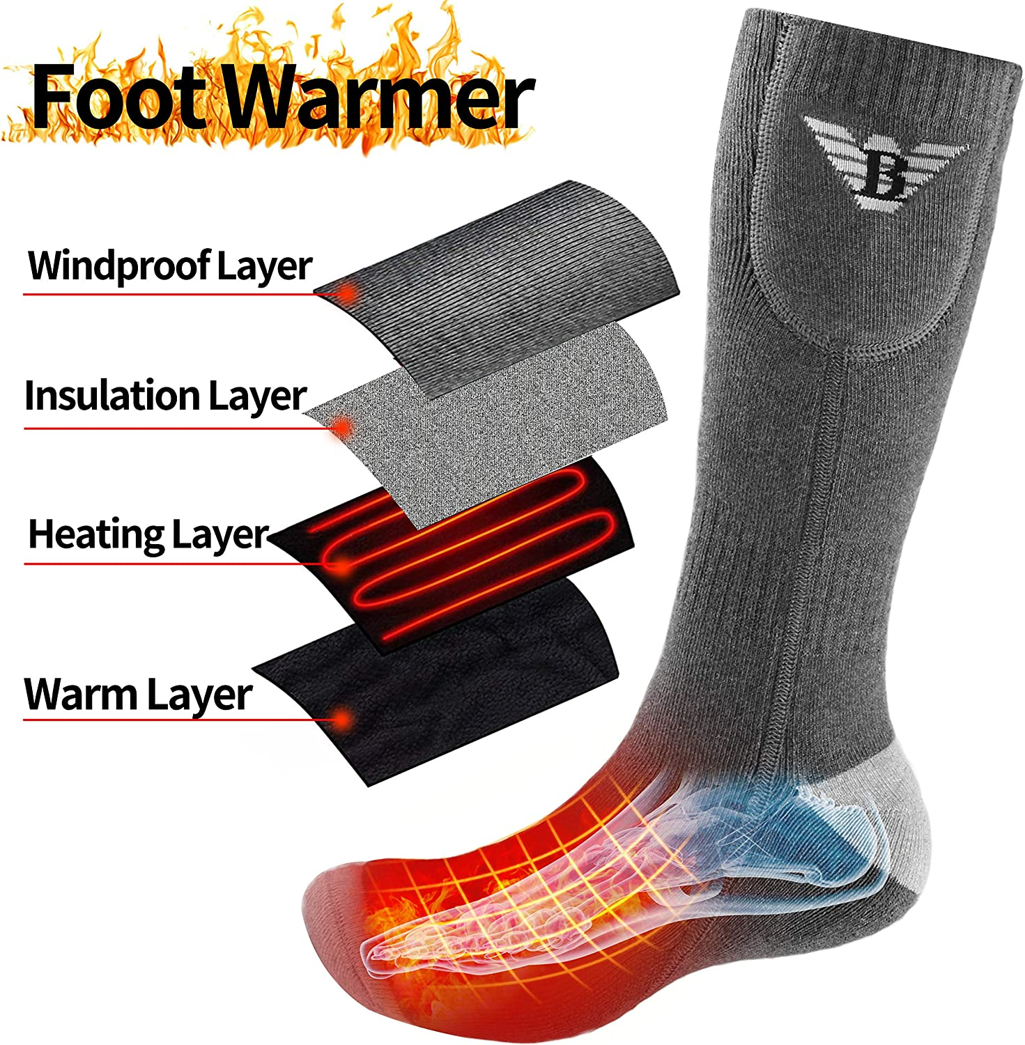 Grey-Heat Instep, L Begleri Electric Heated Socks for Men Women Rechargeable Heated Socks 3.7v 4000mAh Heating Socks for Motorcycle,Chronically Cold Feet,Winter Sport,Outdoor