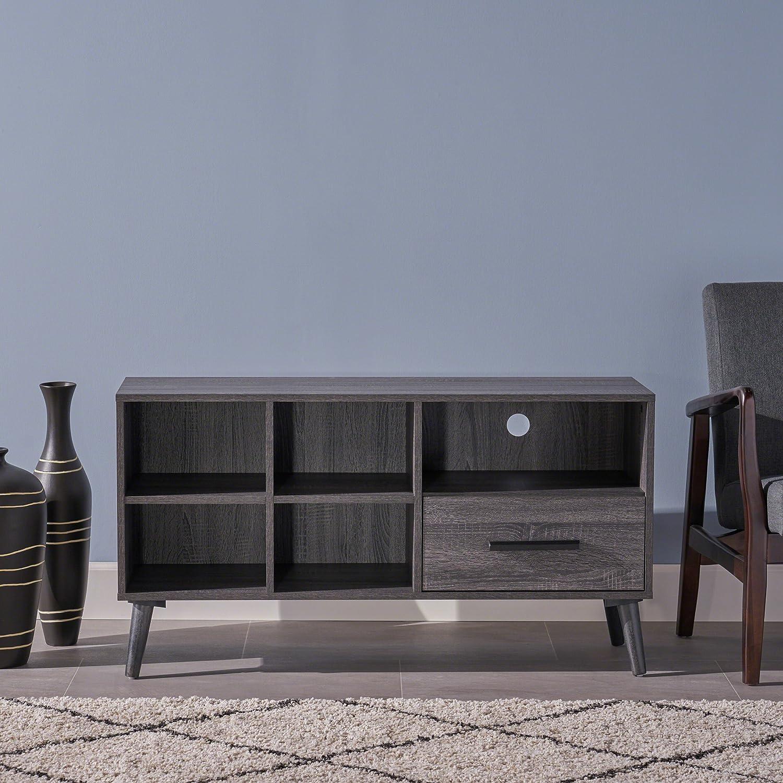 Great Deal Furniture 304404 Melantha Mid Century Modern Faux Wood Overlay TV Stand, Grey Oak,