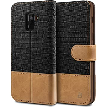brand new 83315 d5f57 BEZ Case for Samsung A8 2018 Case, Flip Case Compatible with Samsung Galaxy  A8 2018, Wallet Case Cover [Canvas Faux Leather] with Credit Card Holders,  ...