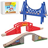 On Track USA Bridge Accessory Train Set: Suspension, Overpass and Arch Bridge Set Compatible with Thomas, Brio…