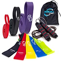 Invincible Fitness 3 Pull Up Bands, Jump Rope, 5 Loop Resistance Bands Home Gym Workout Equipment Bundle, Portable Carry Bag | Heavy Duty Exercise Supplies, Physical Abs Training, Body Strengthening