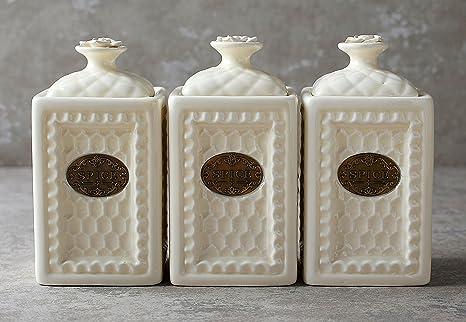 Set di barattoli in ceramica bianca stile vintage per conservare
