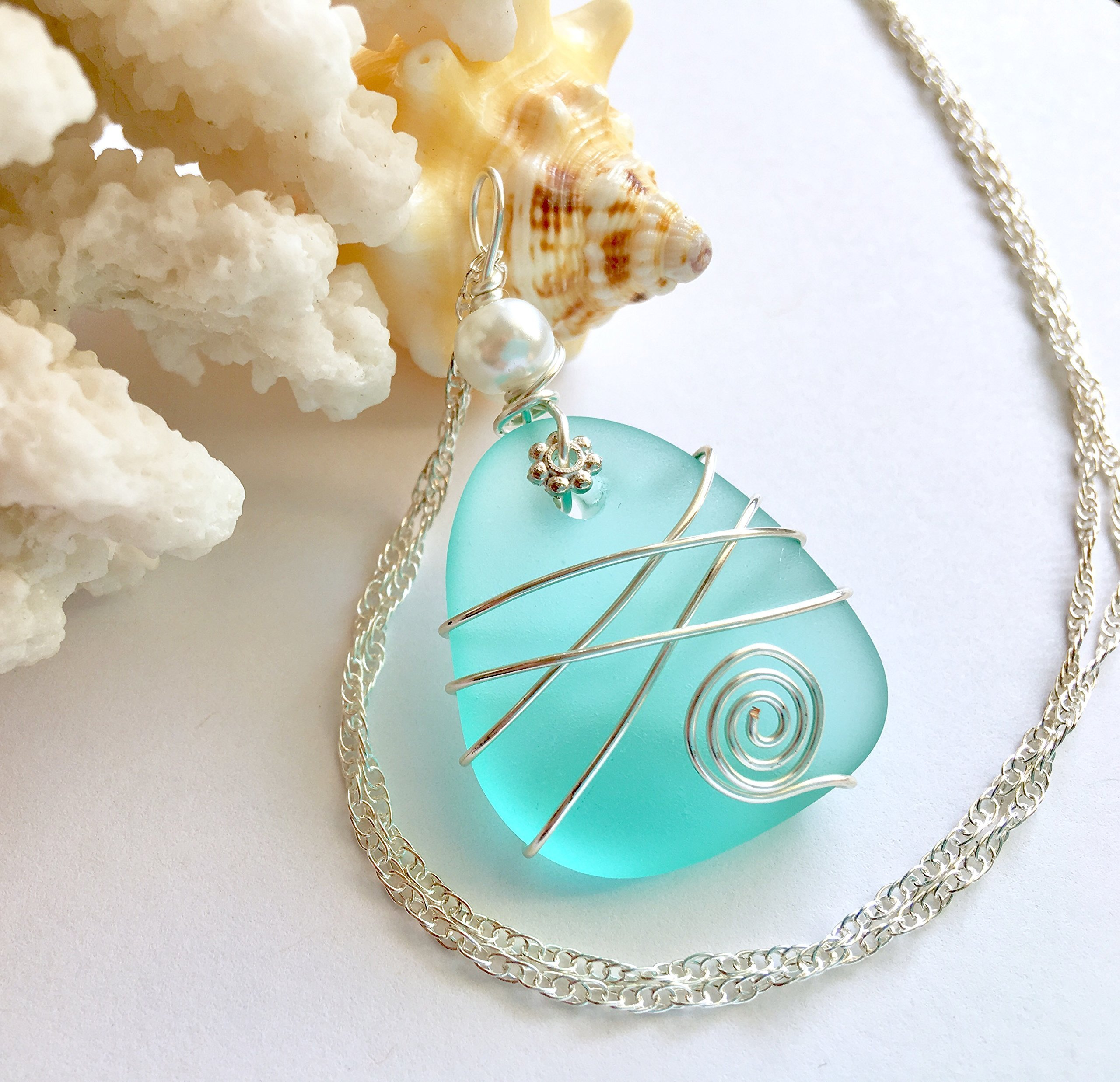 Handmade Top Selling Sea Foam Sterling Silver Necklace in Nautical Sea Glass Jewelry STERLING SILVER CHAIN, Sea Glass Necklace, Sea Glass Jewelry, Seaglass Necklace