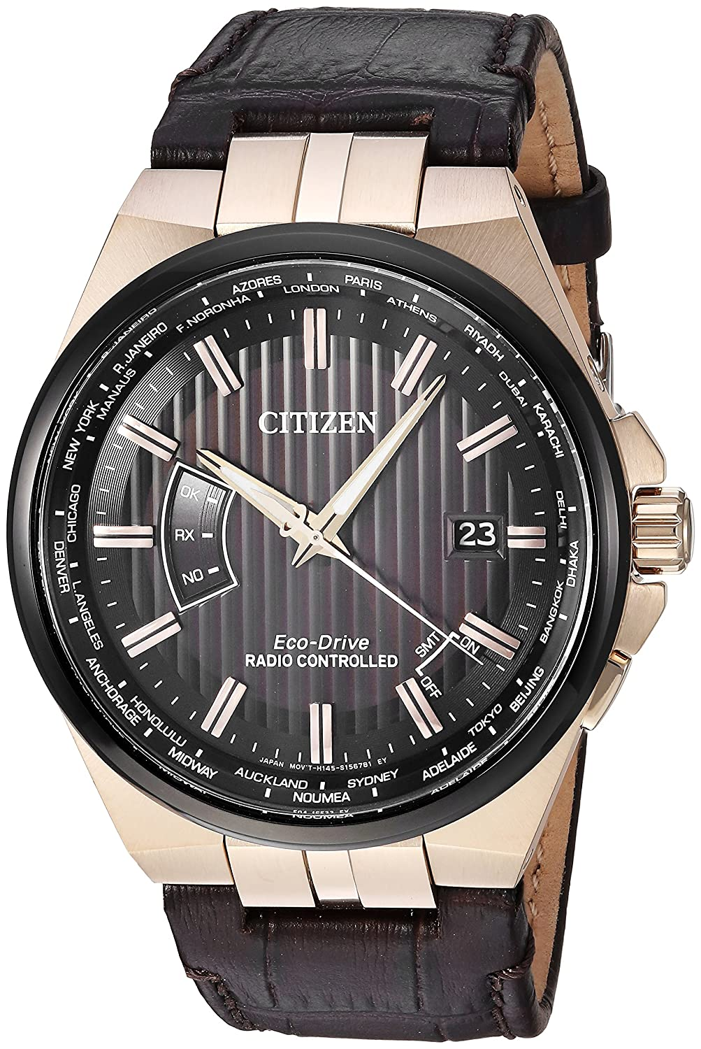 6a4bfd7c3ad Amazon.com  Citizen CB0168-08E Men s World Perpetual A-T Brown Strap Watch   Watches